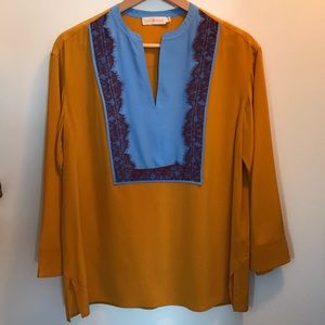 Tori Burch Silk Tunic Gold Blue Purple Lace